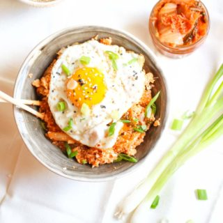 15-Minute Kimchi Cauliflower Fried Rice with a Perfect Egg on Top