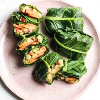 Avocado Peach Chickpea Salad Collard Wraps