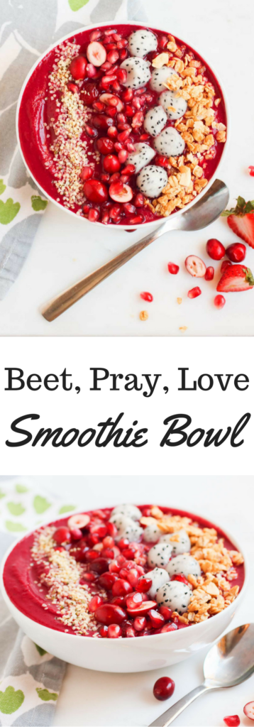 This vegan, gluten-free, beet, pray, love smoothie bowl is the perfect combo of bright red beets and berries, loaded with antioxidants and superfoods. A healthy loving way to begin any day | Abraskitchen.com