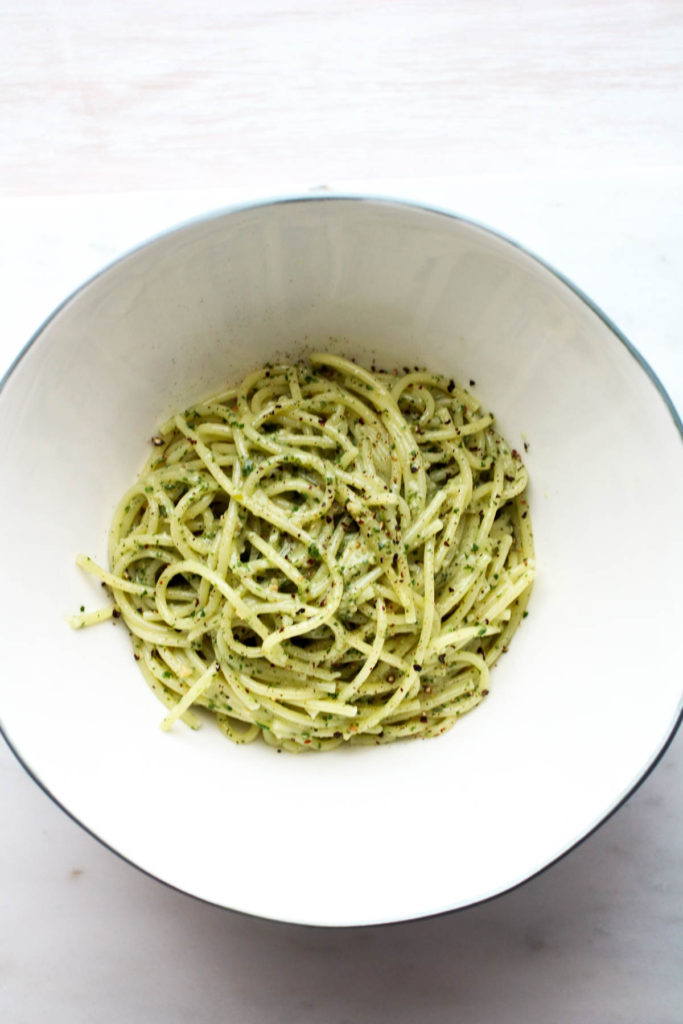 Cashew Carrot Top Pesto Pasta
