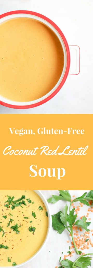 This quick and healthy (vegan) coconut red lentil soup recipe is hearty and deeply satisfying. It is my go-to quick weeknight dinner recipe.