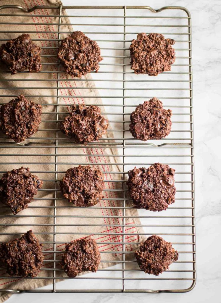 Double Chocolate cherry quinoa cookies are perfectly soft and chewy chocolate cookies with tart dried cherries, almond butter, cooked quinoa, and dates. Gluten free, refined sugar-free, vegan, dairy free, flourless  abraskitchen.com