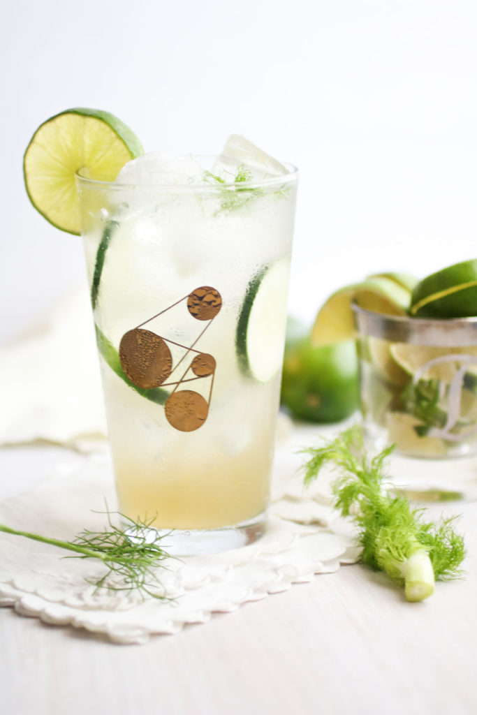 Fennel Cucumber Spritzer, with homemade fennel simple syrup