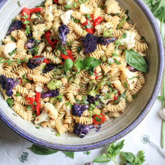 Fresh Basil and Roasted Cauliflower Pasta Salad