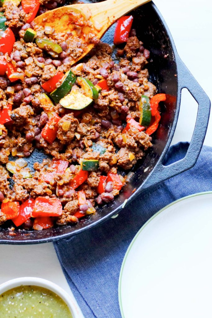 Quick cooking, healthy, easy clean up, entire family happy making, grass fed beef and zucchini skillet supper recipe.