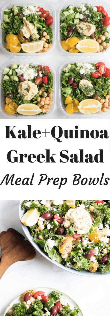Greek kale and quinoa salad meal prep bowls are addictively delicious! Tender kale, salty feta cheese, crunchy cucumbers everything you need in a salad all packed up and ready to take to work!
