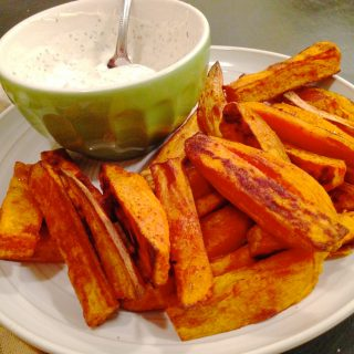 Baked Sweet Potato Fries with Creamy Herb Dip