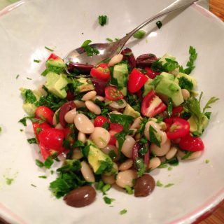 white bean, tomato, avocado salad
