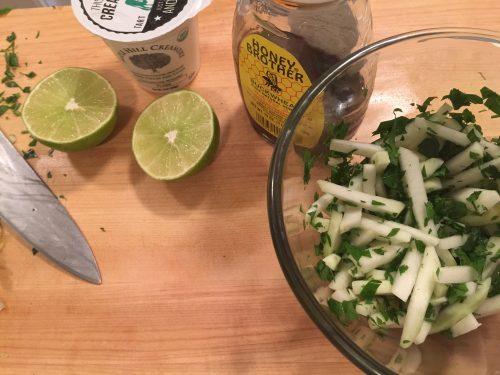 Kohlrabi Salad with Lime Yogurt Dressing