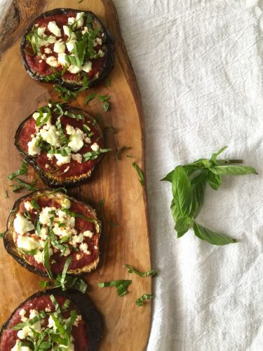 mini goat cheese eggplant pizza