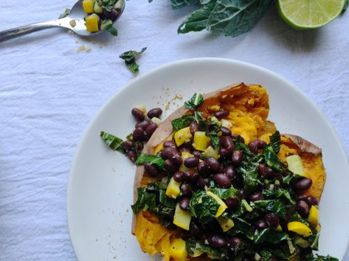 kale and black bean stuffed sweet potato