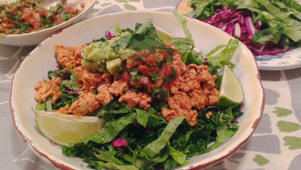 turkey taco salad with roasted tomato salsa