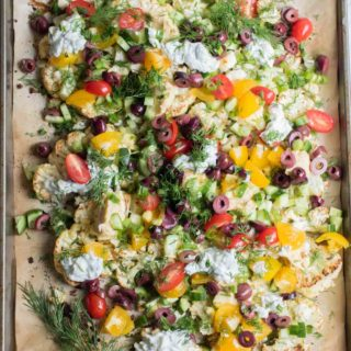 Loaded Mediterranean Cauliflower Nachos