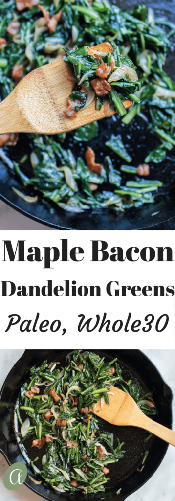 Crisp salty bacon, sweet onions, and earthy maple syrup combine with nutritious dandelion greens in this healthy and easy side dish. Paleo, Whole 30, Gluten-Free, Liver-Support. YUM YUM! |abraskitchen.com
