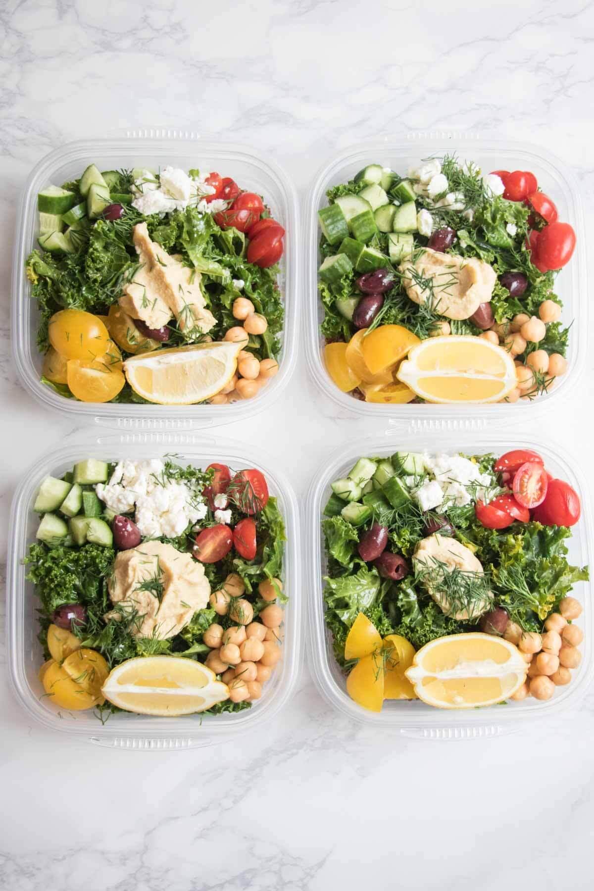 Greek Kale and Quinoa Salad Meal Prep Bowls | Abra's Kitchen