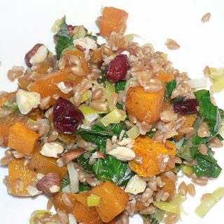 butternut squash, kale, and farro salad