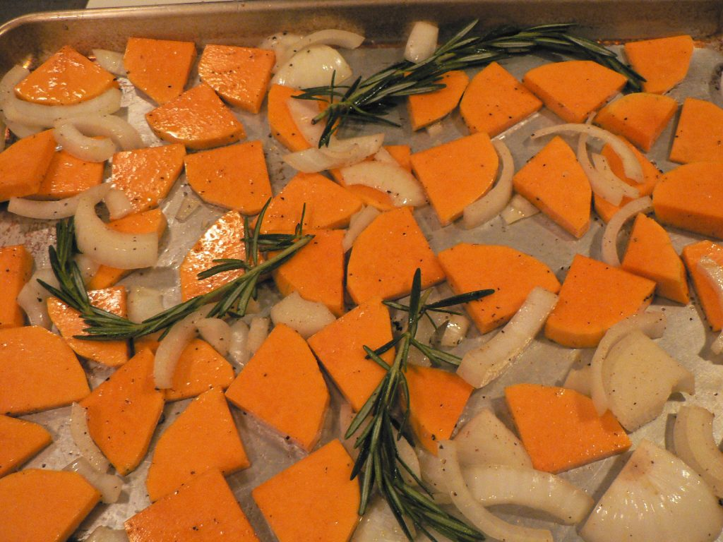 Roast squash, onion, and rosemary