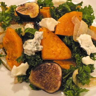 Roasted butternut squash, kale and figs