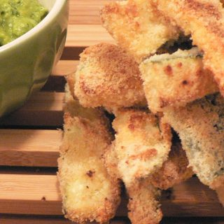 Zucchini Fries with Minty Avocado Dip