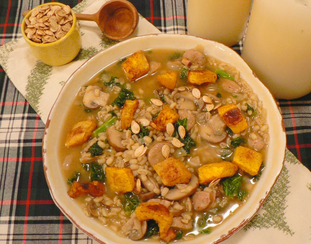 Mushroom Barley Soup with Pumpkin