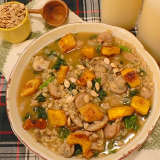 Mushroom Barley Soup with Kale and Pumpkin