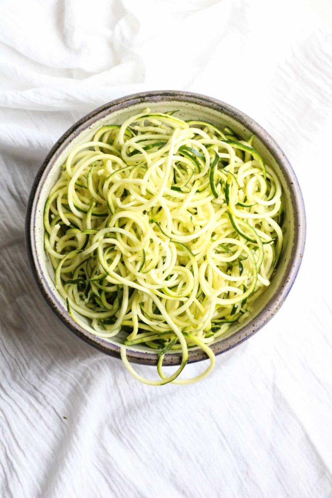 Cold Peanut Zucchini Noodles, a healthy and delicious recipe; gluten-free, vegan, paleo, vegetarian, zoodles, whole 30. Ready in 7 minutes and only 240 calories per serving!