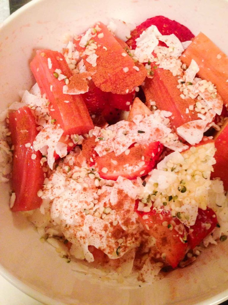 In Season: Rhubarb. Featuring rhubarb health benefits, cooking and storage tips, and recipes!