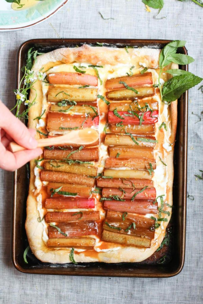 Ricotta flatbread with roasted rhubarb, honey, and mint. A few simple real food ingredients, quick and easy, and so yummy! | abraskitchen.com