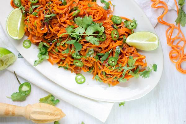 Sweet Potato Noodles with Jalapeno Lime Dressing, Vegan, Gluten Free, Vegetarian, Clean Eating