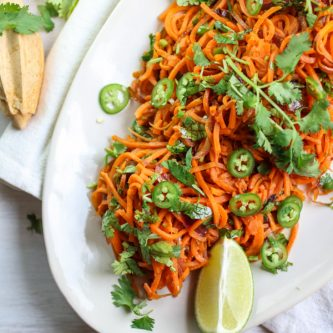Sweet Potato Noodle with Jalapeno Lime Dressing, Vegan, Gluten Free, Clean Eating, Spiralized,