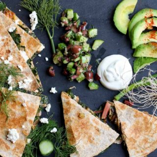 Swiss Chard and Feta Cheese Quesadilla with Cucumber Kalamata Salsa