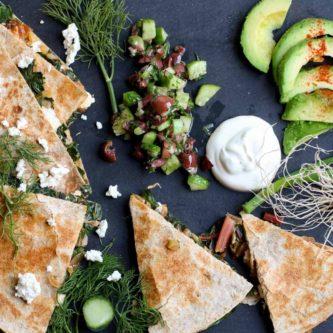 Swiss Chard and Feta Cheese Quesadilla / Abraskitchen.com