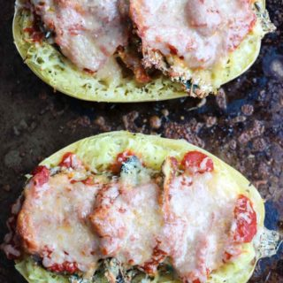 Lightly almond flour breaded zucchini and eggplant piled high inside spaghetti squash. Covered in fresh marinara sauce, mozzarella, and Parmesan cheese. YUM! Gluten free, vegetarian |abraskitchen.com
