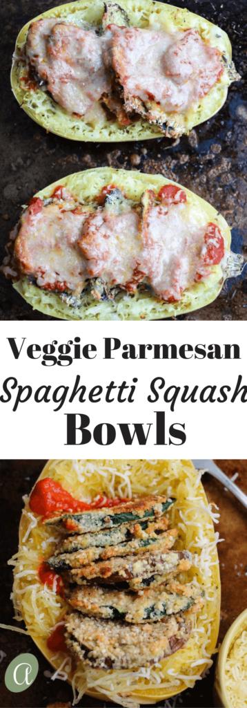 Veggie Parmesan Spaghetti Squash Bowls. Lightly almond flour breaded zucchini and eggplant piled high inside spaghetti squash. Covered in fresh marinara sauce, mozzarella, and Parmesan cheese. YUM! Gluten free, vegetarian |abraskitchen.com