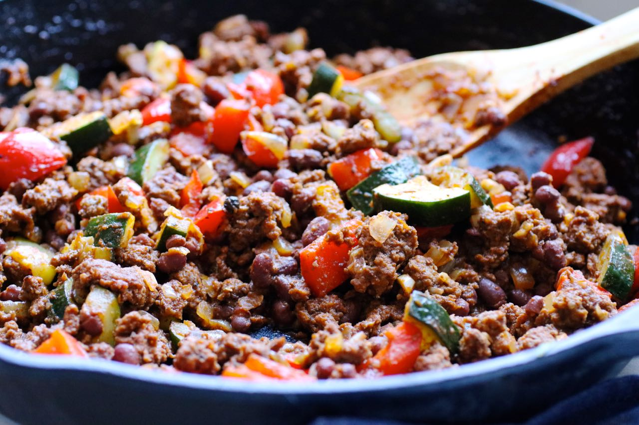 grass fed beef and zucchini skillet