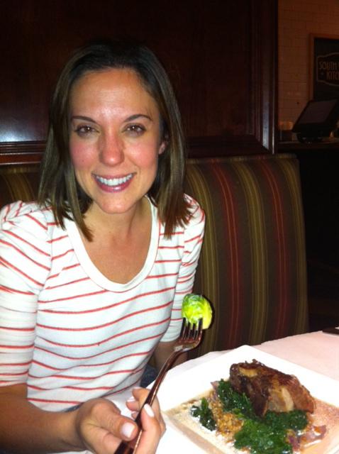 Karen eating Short Ribs with KALE