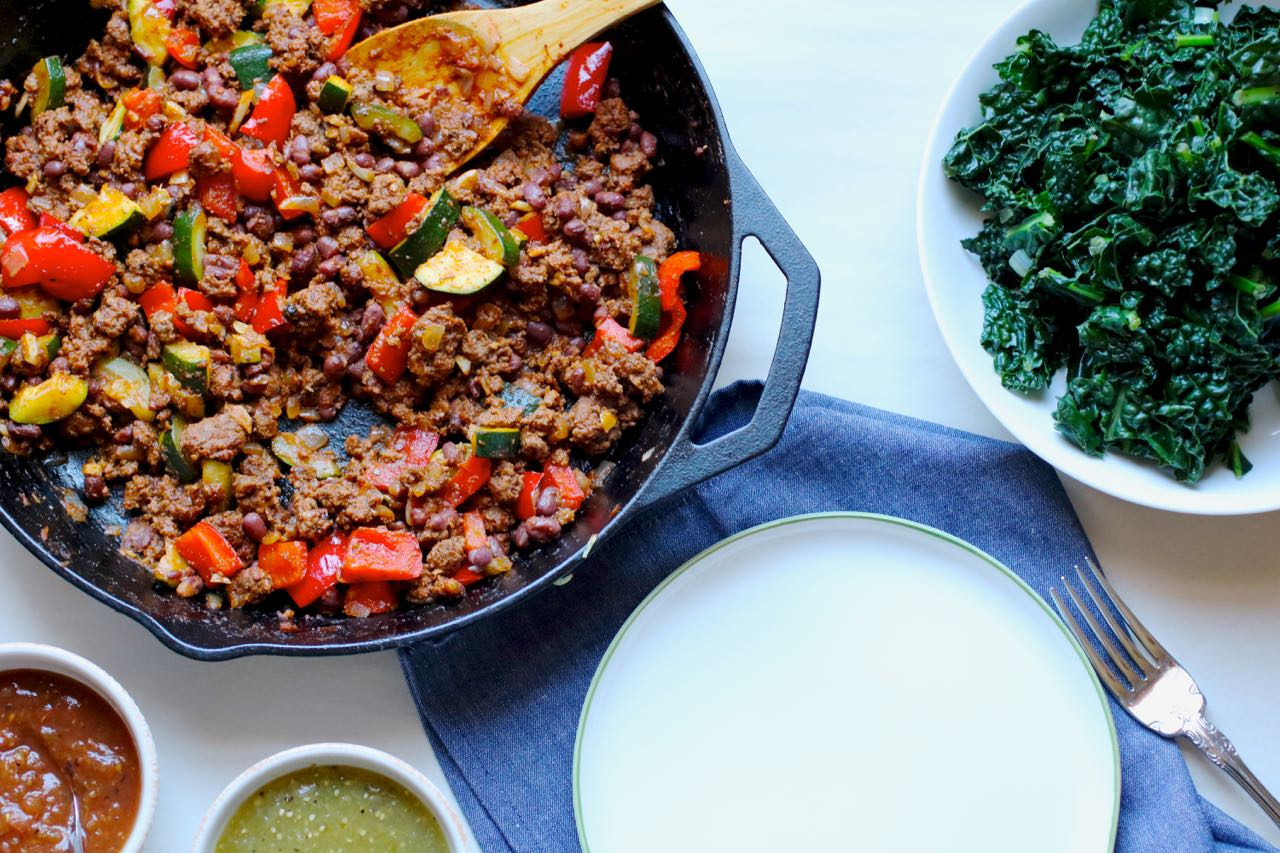 Grass Fed Beef and Zucchini Skillet Supper