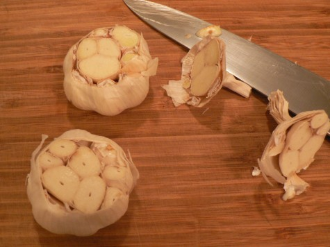 Decapitated garlic heads