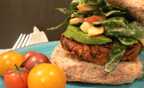 butternut squash and black bean burger