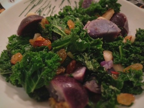 kale + purple potatoes
