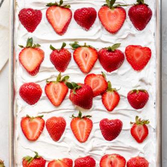 sheet pan of Paleo Strawberry Poke Cake