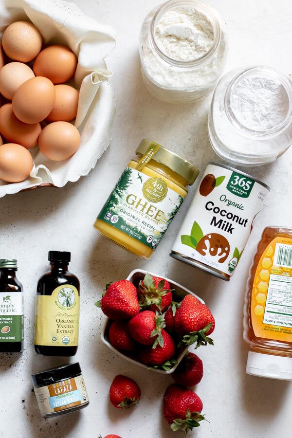 ingredients needed for Paleo Strawberry Poke Cake