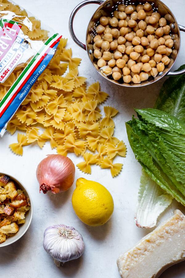 Ingredients for Chickpea Caesar Pasta Salad