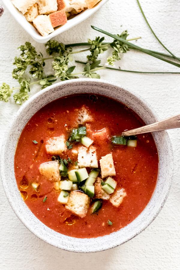 one bowl of healthy charred gazpacho
