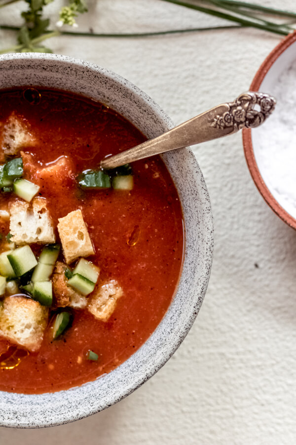 close up bowl of healthy gazpacho