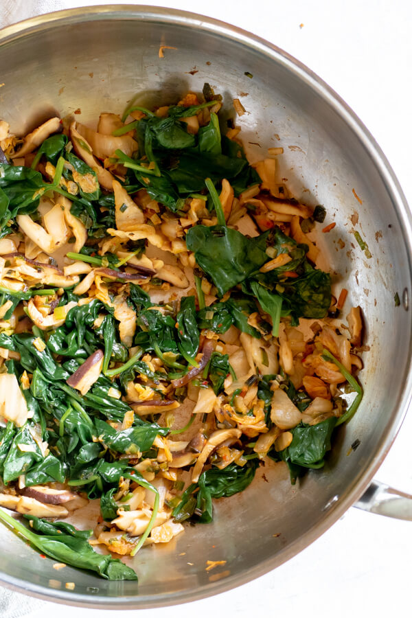 large saute pan of vegetables