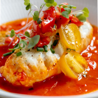 close up of One Pan Cod in Tomato Butter Sauce