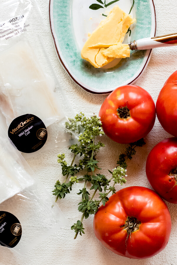 Ingredients for One Pan Cod in Tomato Butter Sauce/ tomato, butter, cod, fresh herbs