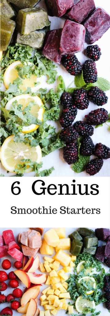 6 quick and easy Smoothie Starter recipes to make delicious, healthy, real food, smoothies all season long! Fresh fruit and veggies blended together to creamy goodness. Check out the ideas on abraskitchen.com