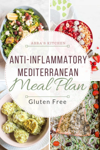 A gluten-free, anti-inflammatory, super healthy and delicious Mediterranean meal plan. This meal plan is full of functional foods that reduce inflammation and support overall health.